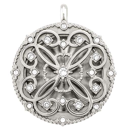 LK9063 Large Silver Solid Twist Living Locket Base Plus Sentiments Lace Face with Swarovski Crystals V1 copy